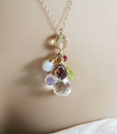 Necklace Gemstone Cluster Pendant MODERN GF by countrycharisma, $69.00