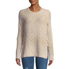 fbb984de Lucky Brand Women's Lace-Up Sweater ($70) ❤ liked on Polyvore featuring  tops, sweaters, beige, pink pullover, crewneck sweaters, pink crew neck  sweater, ...