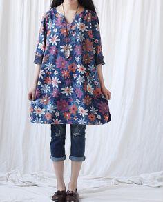 women dress/ Loose Large size denim dress by MaLieb on Etsy, $79.00