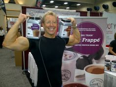 """Bruce Pechman aka Mr. Biceps and """"The Muscleman of Technology"""" and KUSI & KTLA personality stopped by the Big Train booth at the Idea World Fitness Show in San Diego. Bruce loves Chocolate Fit Frappe."""