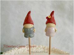 Miniature Gnome Toppers - Cake Topper, Home decor, Plant decor, Terrarium, plant poke, wedding cake topper on Etsy, $25.18