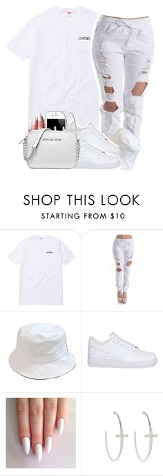 """""""Rock Out All White When I'm Feelin Godly✨"""" by clinne345 ❤ liked on Polyvore featuring Ryders, NIKE, JudeFrances and Michael Kors"""