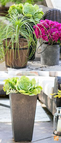 Create a beautiful and natural extension of your home décor with potted plant accessories for your patio, deck or balcony. Plants like succulents, paired with modern or rustic pots, are easy to care for and add instant appeal. See more simple outdoor decorating ideas from our Patio Style Challenge series on The Home Depot Blog.: