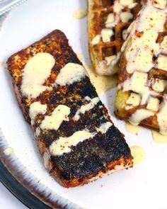 Courgette Waffles, Cajun Salmon & Blender Hollandaise