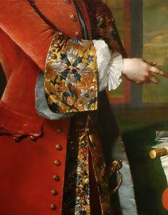 """detailsofart: """" Floral gold brocade fashionable cuffs Frans van der Mijn, Portrait of Jan Pranger, 1742, Rijksmuseum Amsterdam """""""