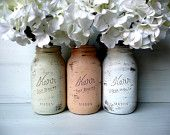 WEDDING and Home Decor - Painted Mason Jars - GLAM - Pastels outside, Silver inside - Wide Mouth Quart