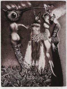 Albín Brunovský (Slovak, 1935-1997, b. Zohor, Czechoslovakia) - Labyrinth of the World and Paradise of the Heart III (Masks), 1989  Lithograph