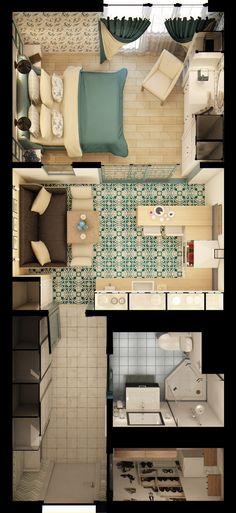 Apartment Studio Bedroom Floor Plans Ideas For 2019 Modern House Plans, Small House Plans, House Floor Plans, Apartment Layout, Apartment Design, Apartment Ideas, Small Apartments, Small Spaces, Apartment Floor Plans