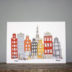 Amsterdam Print / / A4 illustratie / / van helenacarrington op Etsy