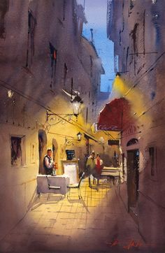 Graham Watercolor Painting by Ron Stocke Art Painting, Indian Art Paintings, Landscape Paintings, Watercolor City, Watercolor Paintings, Painting, Watercolor Architecture, Watercolor Landscape Paintings, Art