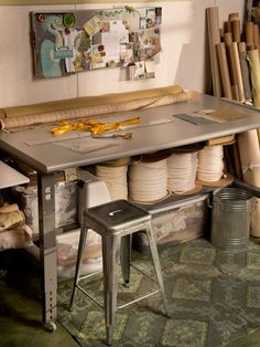 Is This The Best Work Table Ever? >> http://blog.diynetwork.com/maderemade/2014/01/06/setting-up-shop-the-best-work-table-ever?soc=pinterest