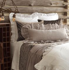 Margaret Farmhouse Bedding Collection -  Sink in to this luxuriously layered combo, featuring our pintucked duvet and shams, velvet quilt and shams, and ruffled linen bedspread and decorative pillow.