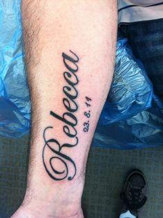 Rebecca Name Tattoo Design on Arm