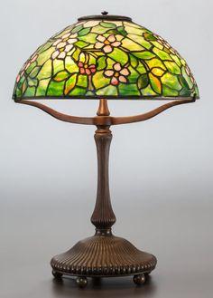 E. THOMASSON ART NOUVEAU STYLE LEADED GLASS FIGURAL LAMP, FIGURE ...