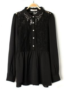 black long sleeve hollow out lace chiffon dress
