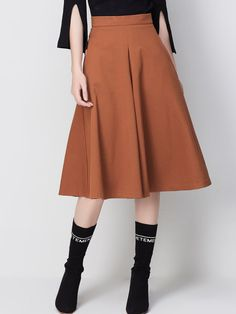 Folds Pockets Plain Elegant Midi Skirt
