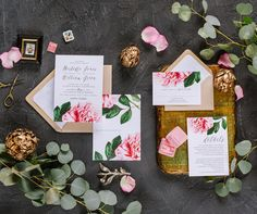 Become absolutely smitten with these Spring Garden inspired Pink Peony Wedding Invitations. The front showcases classic typography with a Magnolia