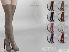 Sexy thigh high boots! Come in 9 colours (leather/suede texture). Joints are perfectly assigned. All LODs are replaced with new ones. Found in TSR Category 'Sims 4 Shoes Female'