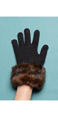 774180556cf Womens Faux Fur Gloves   Faux Fur Trimmed Knitted Gloves