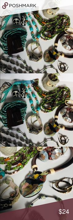 Lot of Boho Treasures A spectacular array of boho accessories just waiting to adorn any outfit. This collection includes jewelry made with semi-precious stones and genuine abalone. Some EUC, Some NWT. Jewelry