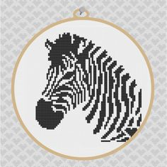 Zebra Silhouette Cross Stitch PDF Pattern