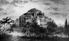 The Holy Temple of Agia Sofia was built during the period when emperor of the Byzantine Empire was Justinian the Great. Church Outreach, Byzantine Architecture, Byzantine Art, Hagia Sophia, Islamic Art Calligraphy, Religious Icons, Christian Church, Thessaloniki, Art Store
