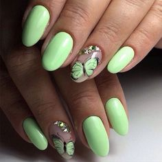Accurate nails, Bright lime nails, Butterfly nail art, Lime nails, Nails with rhinestones, Oval nails, ring finger nails