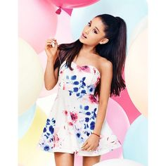 Ariana Grande For Lipsy Floral Bandeau Prom Dress ($64) ❤ liked on Polyvore featuring dresses, lipsy, floral bandeau dress, flower pattern dress, bandeau dress and floral printed dress