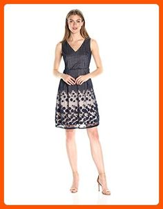 Adrianna Papell Women's Pleated Plaid Dot Fit and Flare, Navy/Whisperpink, 6 - All about women (*Amazon Partner-Link)