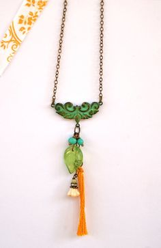 Natalie. bohemian,verdigris,flower necklace. Tiedupmemories