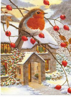 """It's best to have failure happen early in life. It wakes up the Phoenix bird in you so you rise from the ashes. Robin painting by Glenasena. Christmas Bird, Vintage Christmas Cards, Christmas Pictures, Vintage Cards, Winter Christmas, All Things Christmas, Vintage Postcards, Christmas Crafts, Illustration Noel"