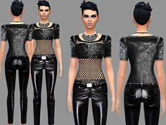 Pinkzombiecupcakes' Punker synthetic leather jeans and top