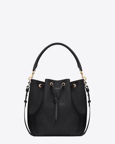 Saint Laurent, Medium EMMANUELLE BUCKET BAG IN Black LEATHER