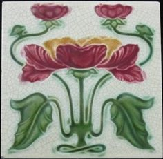 One of my favorite designs of the floral type depicting a stylized poppy with buds above about to bloom. The tile is in excellent condition with a tiny lower left corner nick. T & R Boote Year 1905