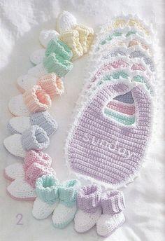 Bibs and Booties Crochet Patterns Bernat by PaperButtercup