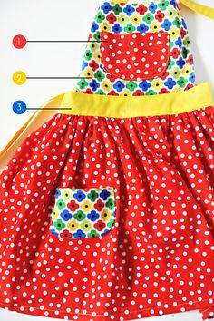 tutorial: child's apron « Ann Kelle Childrens Apron Pattern, Child Apron Pattern, Apron Pattern Free, Childrens Aprons, Sewing Patterns Free, Kids Apron Patterns, Baby Sewing Projects, Sewing For Kids, Apron Tutorial