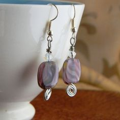 Purple and Silver Coiled Earrings by CCDesignsJewelry on Etsy