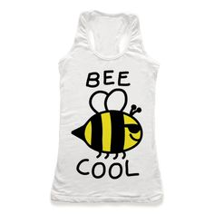 Bee Cool Our super comfortable racerback tanks are made from preshrunk 100% cotton and a tri-blend fabric. Original art printed in the USA. Show off your love for bees and how incredibly important they are with this environmentally conscious, bee humor, save the bees, bee pun shirt! Let the world know how cool it is to care about the bees!
