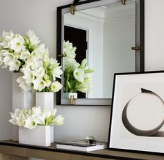 white modern floral arrangement group in white cube vases - Mandarin Oriental, Boston, MA Deco Floral, Arte Floral, Modern Interior Design, Interior Styling, Modern Floral Arrangements, White Vases, Decoration Table, My New Room, Flower Vases