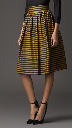 Striped Cotton Silk Skirt   Burberry