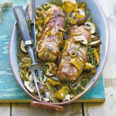 Recept - Varkenshaas met ham en paddenstoelen - Allerhande