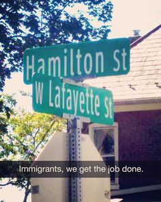Immigrants, we get the job done. *high five* | Hamilton and Lafayette together forever.