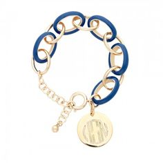 Monogrammed Royal Blue Enamel Link Bracelet with Gold Disc