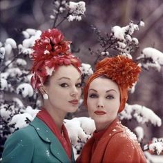 1950s Fancy, tall, turban wraps with flowers