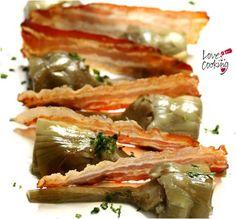 Alcachofas confitadas en aceite virgen con crujiente de panceta