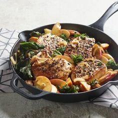 Fennel-Rubbed Pork Chops with Apple, Kale, and Sweet Potato Pork Chops And Sauerkraut, Apple Pork Chops, Pork Loin Chops, Grilled Pork Chops, Boneless Pork Chops, Pork Chop Dishes, Pork Chop Recipes, Chicken Recipes, Lamb Recipes