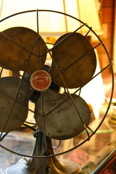 Antique fans...all metal, and heavy. Beautiful decor for industrial chic or urban farmhouse! Great 'heavy metal' Feng shui element decorating!