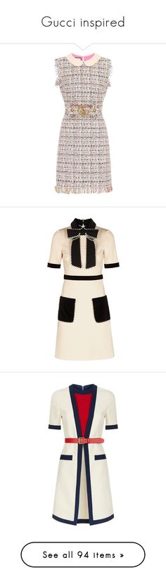 """""""Gucci inspired"""" by laurajanekatriina ❤ liked on Polyvore featuring preppy, gucci, dresses, multicoloured, tweed dress, white day dress, multicolor dresses, multi-color dress, white tweed dress and day dresses"""