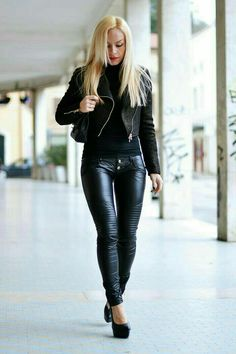 Supple ribbed black leather pants