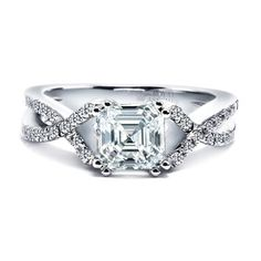 18kt white gold ring set with Royal Asscher Cut diamonds. Available in platinum, white gold and yellow gold. PRETTY